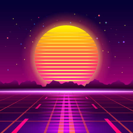 3D illustration Futuristic perspective grid on the background of the cosmic starry sky and science fiction. Road to infinity at sunset. Vector illustration