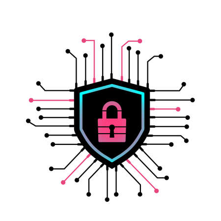 cyber security lock and shield icon. Internet security concept. vector illustration