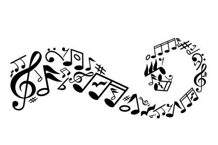 wave with musical notes inside. the concept of love for music. flat vector graphic illustration