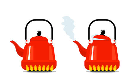 Red kettle on a gas kitchen stove. red kettle boiled with steam from the spout. vector illustration isolated on white background
