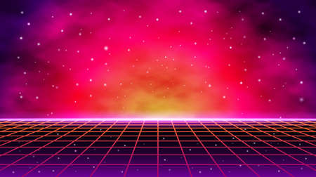 3D illustration. Futuristic perspective grid against cosmic starry sky and sci-fi neon landscape 1980s digital cyber surface style. Illusztráció