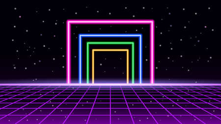 Night starry sky 80s style with neon frame and perspective grid. vector illustration