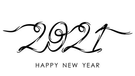 Happy new year 2021 greeting card.handwritten calligraphy template for poster print, banner. lettering. vector illustration isolated on white background  イラスト・ベクター素材