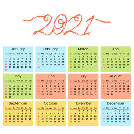 Calendar 2021 for the new year with handwritten inscription. Calendar grid. Week starts on Sunday. color flat vector illustration isolated on white background  イラスト・ベクター素材