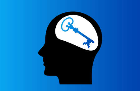 the head of a man with a clue to the situation in his brain. vector illustration. psychology concept