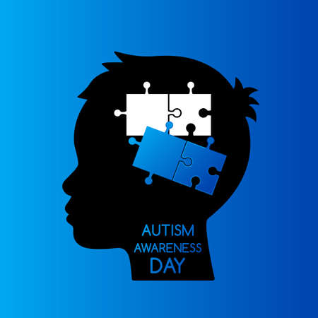 Unfinished puzzles in the human head. The concept of children with autism or Down syndrome. flat vector illustration