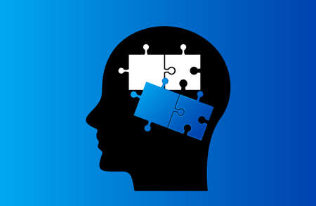 Unfinished puzzles in the human head. The concept of children with autism or Down syndrome. flat vector illustration  イラスト・ベクター素材