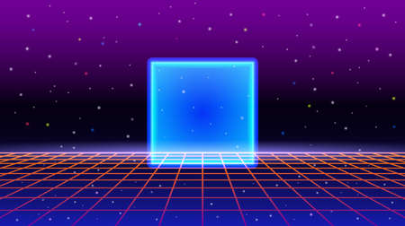 80s style night sky with neon cube and perspective grid. retro style. vector illustration