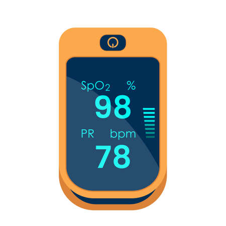 Pulse oximeter icon. measurement of pulse and oxygen in the blood. diagnosis of pneumonia. vector illustration isolated on white background