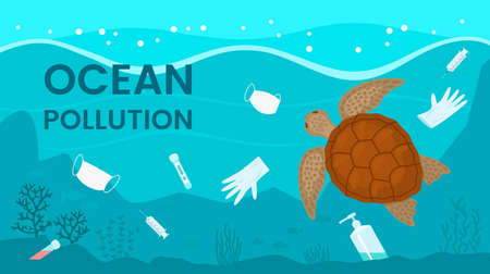 Pollution of the ocean by medical debris from the coronavirus. the turtle swims in plastic and medical masks. vector illustration
