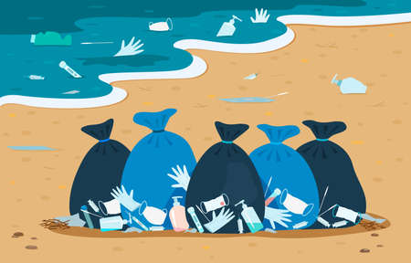 Pollution of the ocean and beach with medical debris after covid-19. garbage bags on the sand with medical masks, syringes, disinfectant packages. vector illustration