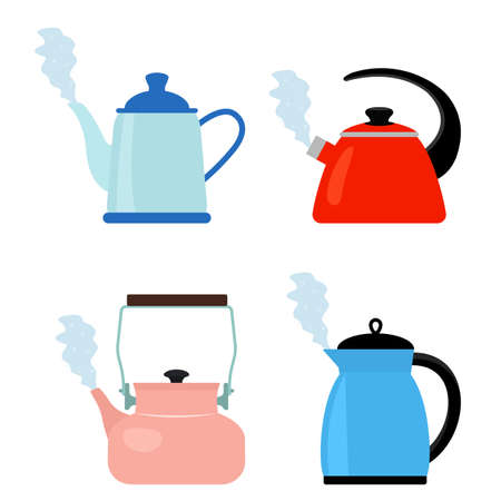 a set of four different teapots that are boiling with steam comes out of the kettle spout. flat vector illustration isolated on white background