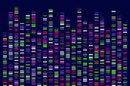 DNA Test White Background Genome Sequence Map Barcoding  イラスト・ベクター素材