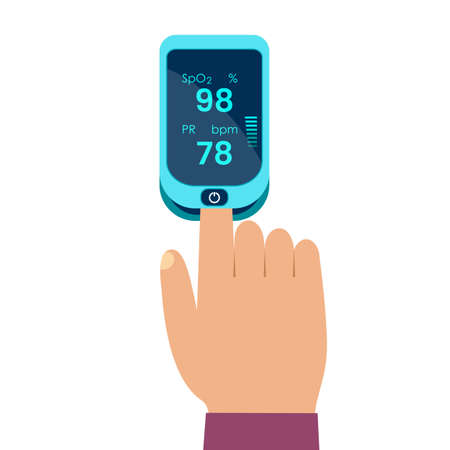 Pulse oximeter icon. human hand measuring pulse and blood oxygen. diagnosis of pneumonia.