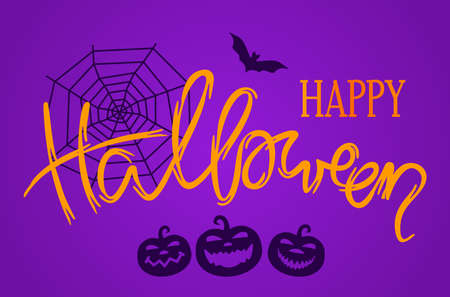 happy halloween greeting card. hand lettering congratulations