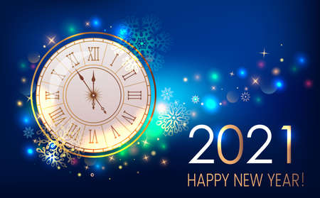 Happy new year 2021 greeting card or banner on the background of fireworks, shine and stars. New Year and holidays concept Xmas. vector illustration