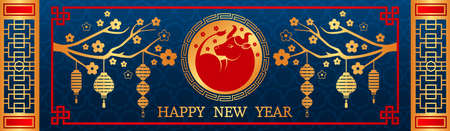 Happy Chinese New Year. bull symbol of 2021, Chinese new year. Template for banner, poster, greeting card. Sakura, rat, lantern, flowers. golden vector illustration