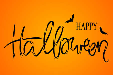 happy halloween greeting card. hand lettering congratulations with three pumpkins