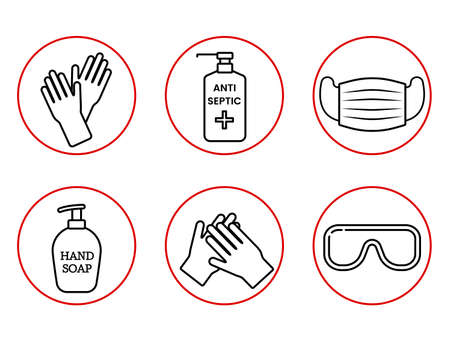 Code of Conduct for the Global Coronavirus Pandemic. use a medical mask, wash your hands, treat with an antiseptic. Hygiene covid -19 infographic icons. vector illustration isolated on white backgroun