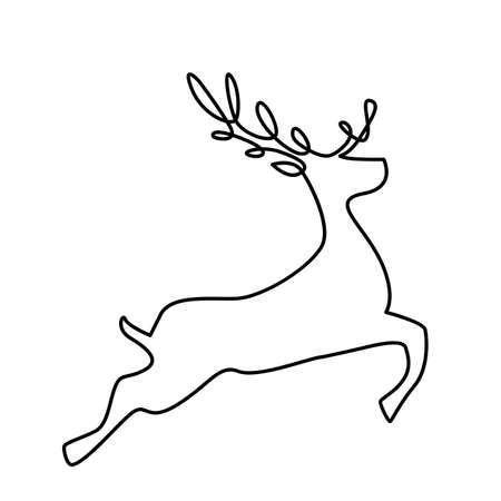 A running deer drawn with one continuous line. Silhouette of an animal on a white background. vector illustration