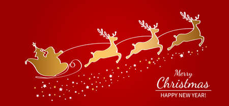 Christmas poster or packaging. Santa Claus on a sleigh with reindeer drawn by one continuous line. flat gold vector illustration on red background