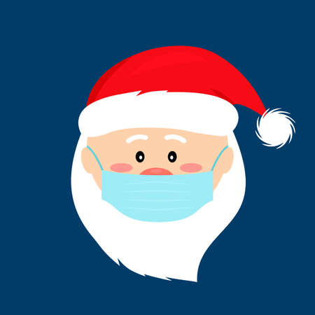 Santa claus in a medical mask for health care Christmas. COVID-19 prevention concept. icon in flat style. vector illustration