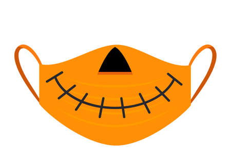 halloween pumpkin lantern medical mask halloween stay at home concept and covid19.