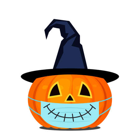 Pumpkin lantern for Halloween with witch hat and medical mask.  イラスト・ベクター素材