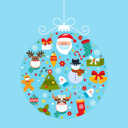 Bright 2019 Happy New Year greeting card Abstract Christmas ball with symbols of Christmas Santa, Christmas tree, deer, gift.