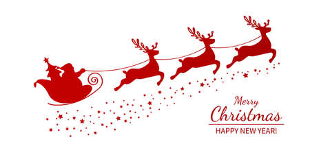 Christmas poster or packaging. Santa Claus on a sleigh with reindeer drawn by one continuous line.