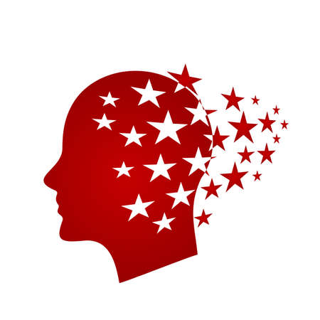 Head of a man with stars in his head. 向量圖像