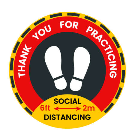 Floor sticker about social distance during the covid-19 pandemic. disease prevention.  イラスト・ベクター素材