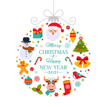 Bright card Happy New Year 2021 Abstract Christmas ball with symbols of Christmas - Santa, Christmas tree, deer, gift. symbol of new year bull in cartoon style. flat vector illustration