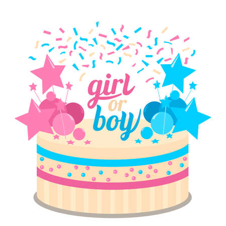 Festive kid's future birthday cake. Baby shower cupcakes for a girl and boy vector illustration isolated on white background