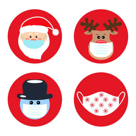set of Christmas pandemic stickers. Santa claus, deer, snowman in medical protective masks