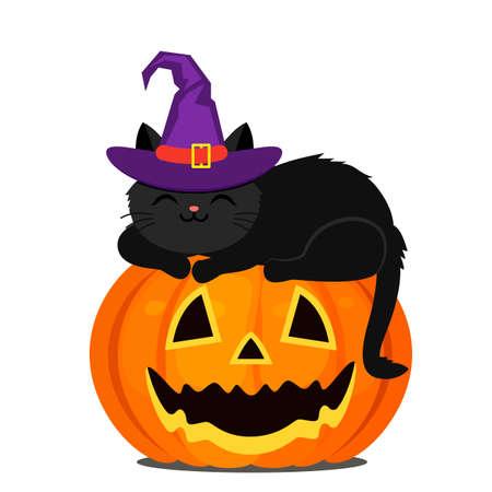 A cute black kitten in a purple witch hat sleeps on an orange pumpkin for Halloween