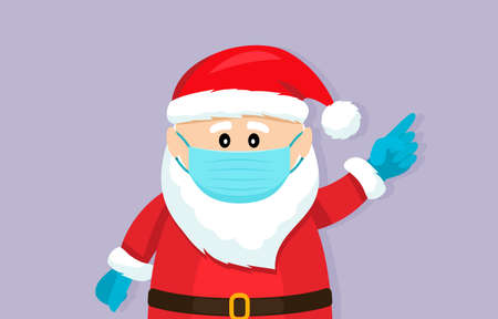 Santa Claus in a medical mask and surgical gloves. Covid 19 prevention concept. 矢量图像