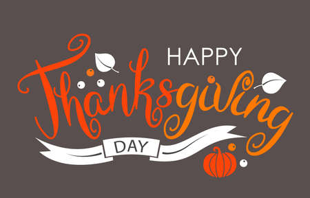 Happy Thanksgiving Merry Greeting Card Calligraphic Print Design