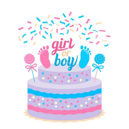 Festive kids future birthday cake. Baby shower cupcakes for a girl and boy Ilustração