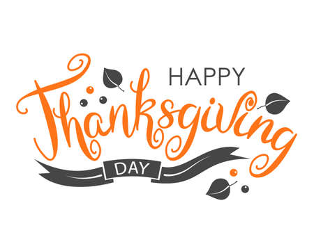 Happy Thanksgiving Merry Greeting Card Calligraphic Print Design. Hand Drawn Thanksgiving Lettering 矢量图像