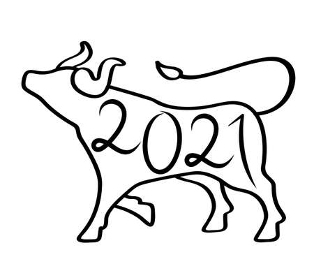 Chinese Traditional Zodiac Sign Year Bull One Endless Line Drawing Happy Chinese New Year 2021. Flat vector illustration isolated on white background.