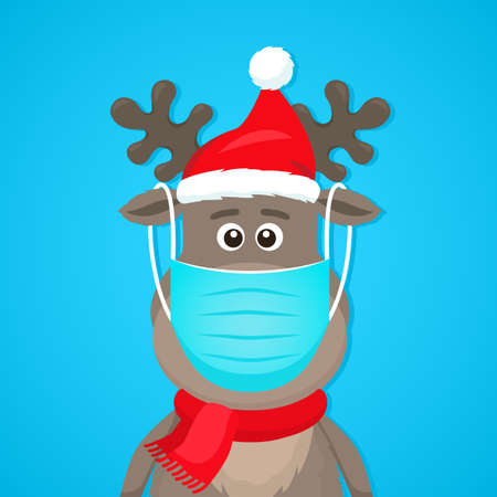 Funny character of a polar deer in a medical mask. Covid 19 prevention concept. Staying at home for Christmas and New Year. flat vector illustration isolate