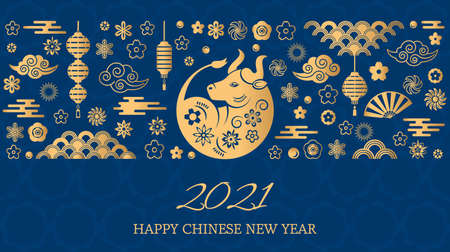 Happy chinese new year. the white metal ox is a symbol of 2021, the Chinese New Year. Template banner, poster, greeting cards. Sakura, rat, lantern, flowers. golden vector illustration 矢量图像