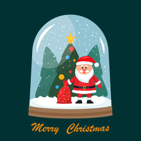 Christmas greeting card. Vector illustration of a glass snow globe with Santa Claus, a bag of gifts on the background