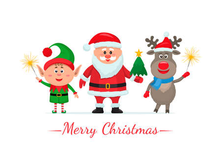 Merry Christmas and Happy New Year greeting card with cute Santa Claus, reindeer and elf