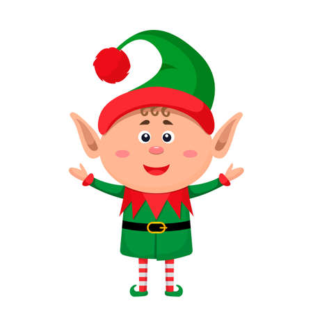 Little character funny elf in a suit. vector illustration