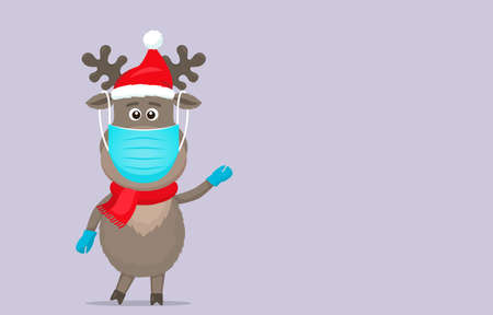 polar deer in a Santa Claus hat in a medical mask and surgical gloves.