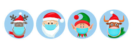 set of Christmas pandemic stickers. Santa Claus, deer, elf, bull in medical protective masks.