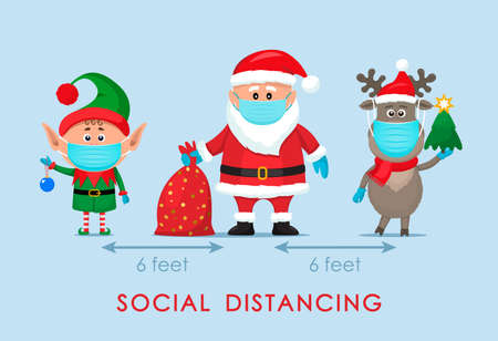 santa claus in a hat with a bag of gifts, an elf and a polar deer in a red scarf in cartoon style.