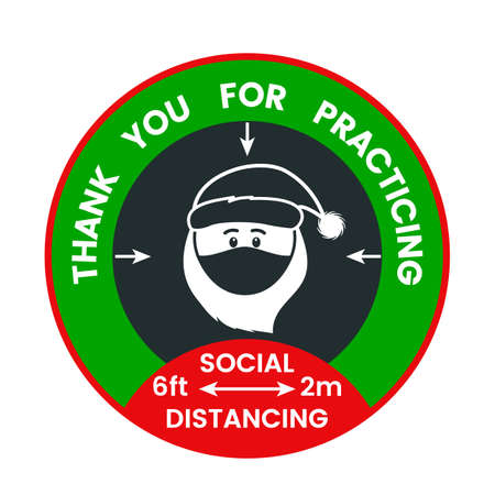 Floor sticker about social distance during the covid-19 pandemic for christmas and new year.